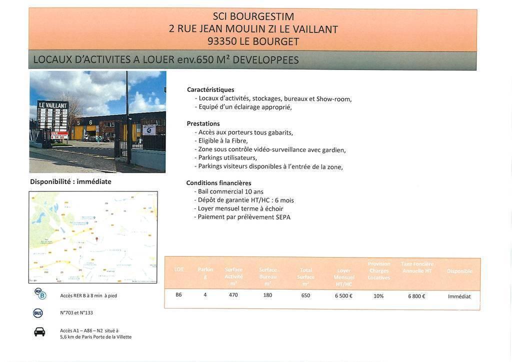 Location Local d'activité Le Bourget 2.500m² 16.000€