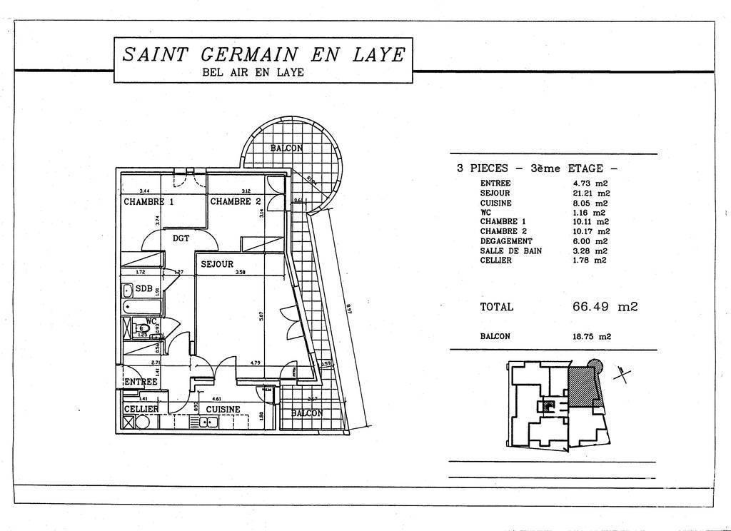 Location appartement 3 pi ces 67 m saint germain en laye for Appartement atypique saint germain en laye