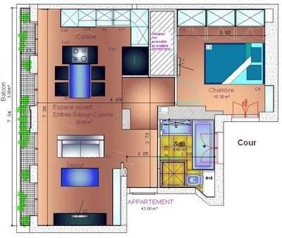 Location meublée appartement 2pièces 43m² Paris 16E - 1.650€