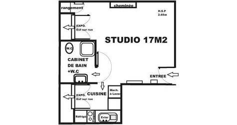 Location studio 17 m² Paris 2E - 650 €