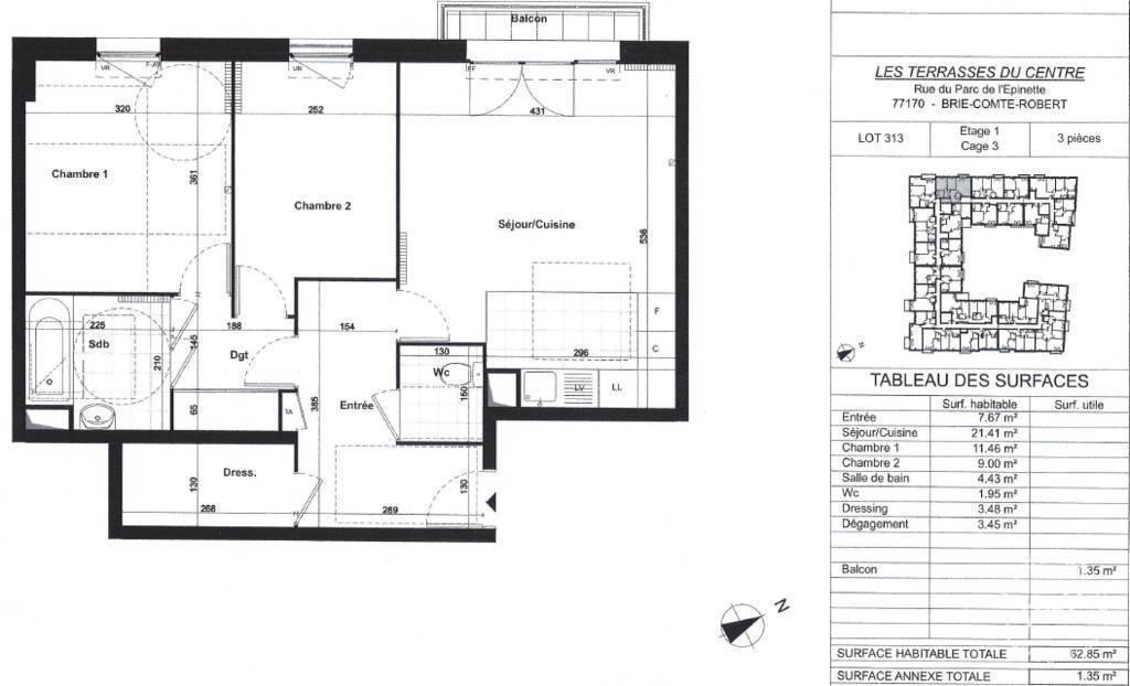 location appartement 3 pi ces 63 m brie comte robert. Black Bedroom Furniture Sets. Home Design Ideas