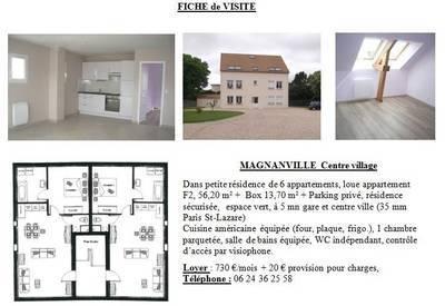 Location meublée appartement 2pièces 56m² Magnanville (78200) - 750€