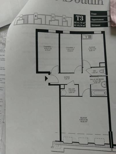 Location appartement 3pièces 65m² Lille (59) - 1.000€