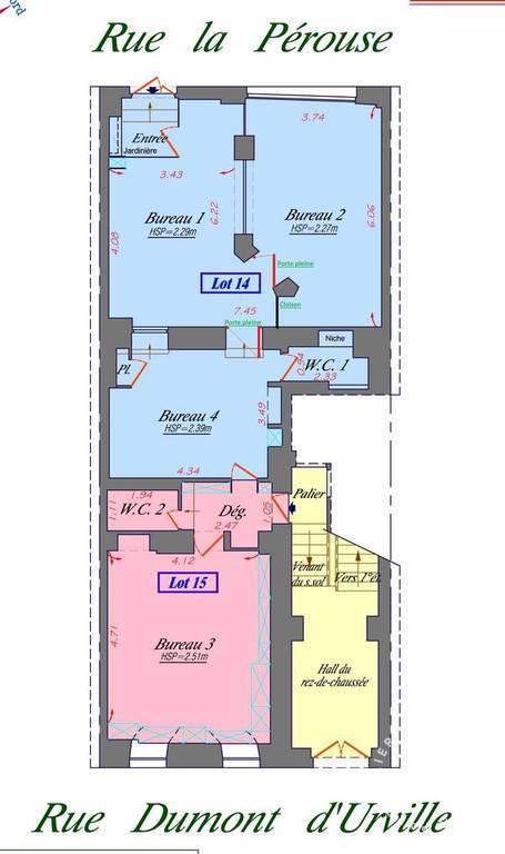 Vente et location Bureaux, local professionnel Paris 16E 94m² 3.800€