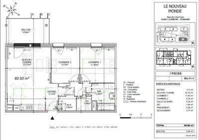 Location appartement 3pièces 61m² Clermont-Ferrand (63) Theix