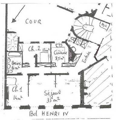 Location meublée appartement 4pièces 102m² Paris 4E - 3.200€