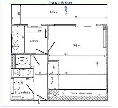 Location studio 29m² Le Plessis-Robinson (92350) - 710€