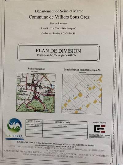 Vente terrain 629m² Villiers-Sous-Grez (77760) - 75.000€