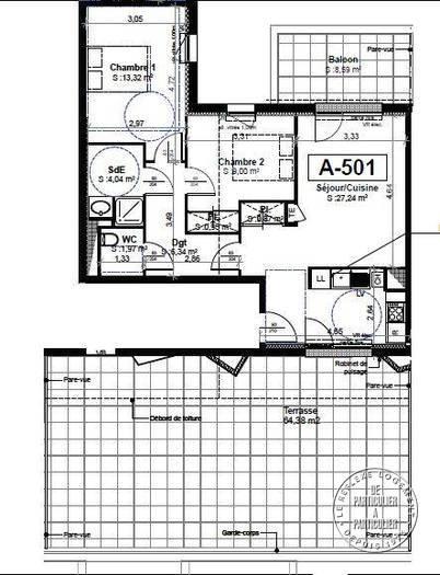 vente appartement 3 pi ces 63 m tours 37 63 m 215. Black Bedroom Furniture Sets. Home Design Ideas