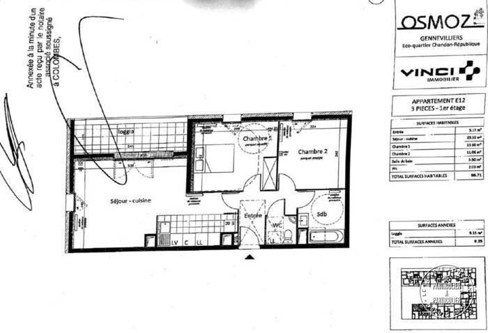 Vente Appartement Gennevilliers (92230) 68m² 299.000€