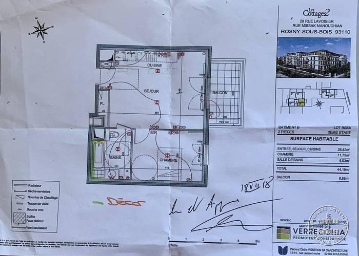 Vente Appartement Rosny-Sous-Bois (93110) 44m² 213.000€