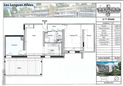 Location appartement 3pièces 67m² Saint-Jean-De-Braye (45800) - 740€