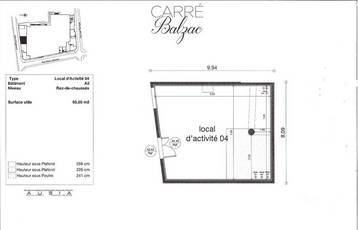 Location ou cession local commercial 65 m² Lagny-Sur-Marne (77400) - 1.800 €