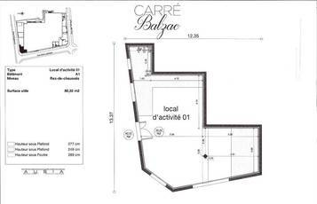 Location ou cession local commercial 80 m² Lagny-Sur-Marne (77400) - 2.160 €