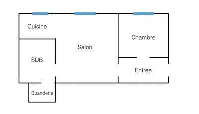 Location meublée studio 33m² Paris 17E - 1.275€