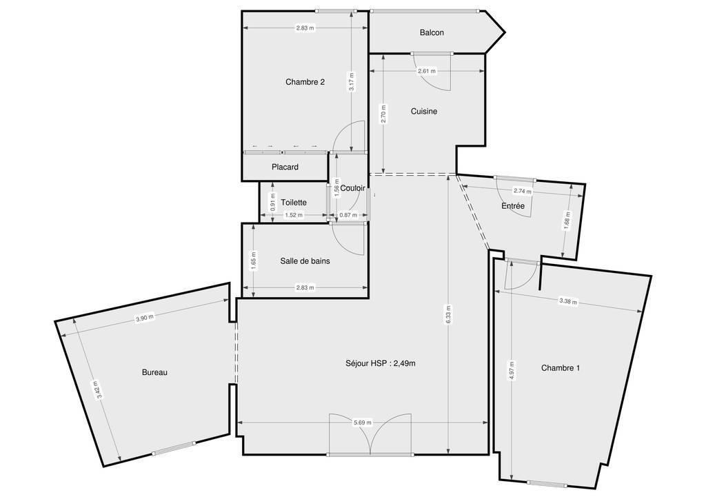 Vente Appartement Montpellier (34) (34090) 80m² 240.000€