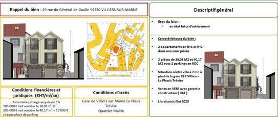 Vente terrain 73m² Villiers-Sur-Marne (94350) - 140.000€