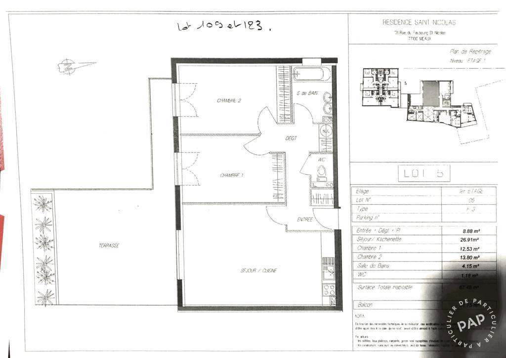 Appartement 228.000€ 68m² Meaux (77100)