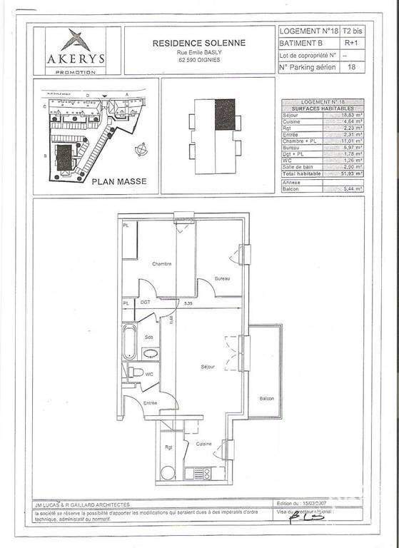 Appartement Oignies (62590) 69.500€