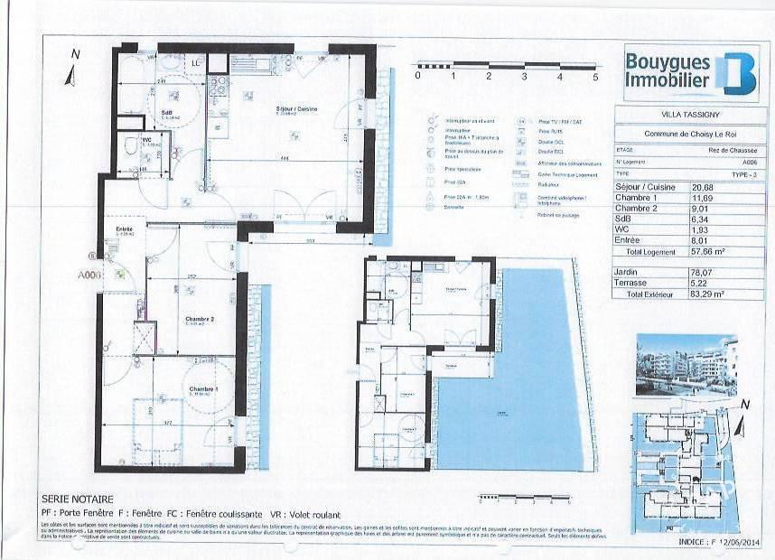 Appartement 239.000€ 58m² Choisy-Le-Roi (94600)