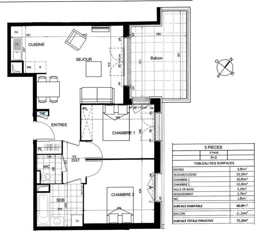 Appartement 490.000€ 60m² Saint-Ouen (93400)
