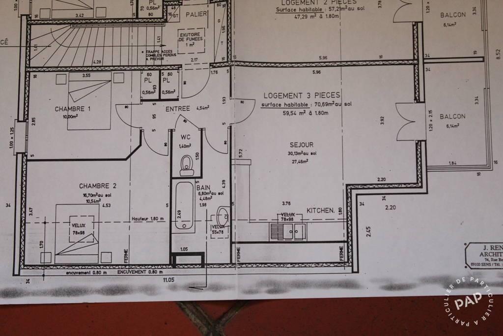 Vente Appartement Pont-Sur-Yonne (89140) 57m² 96.000€