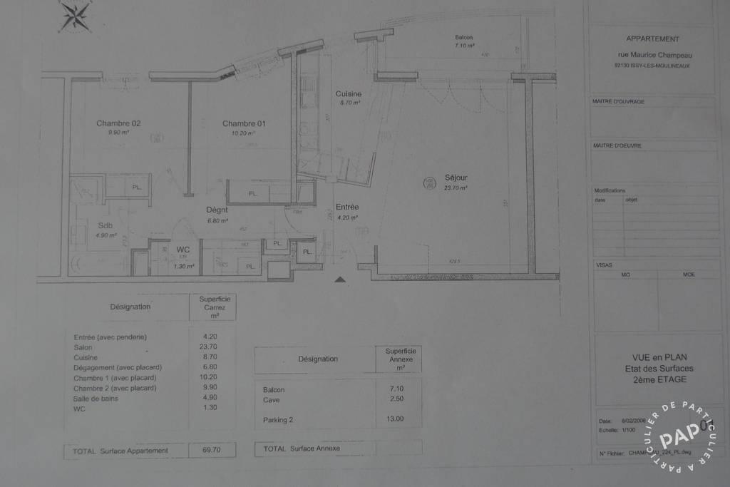 Appartement 698.000€ 70m² Issy-Les-Moulineaux (92130)