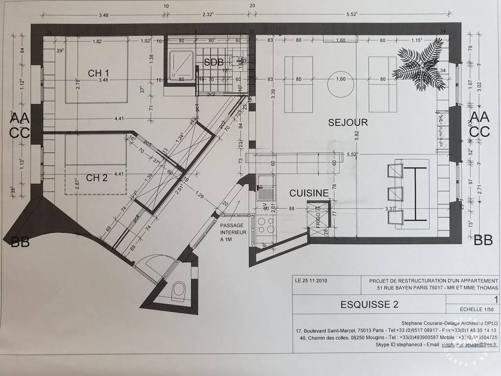 Appartement 850.000€ 64m² Paris 17E (75017)