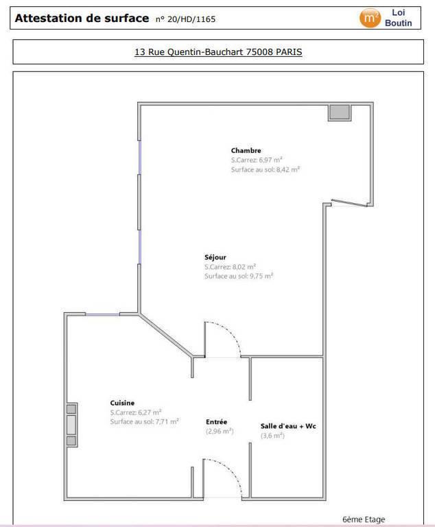 Appartement 1.500€ 34m² Paris 8E