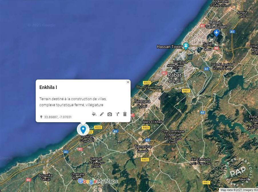 Vente Terrain Skhirat/Rabat  5.000.000€