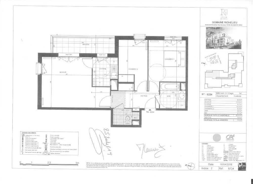 Vente Appartement Rueil-Malmaison (92500) 62m² 475.000€