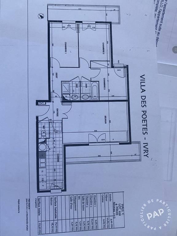 Location Appartement Ivry-Sur-Seine (94200) 75m² 1.900€