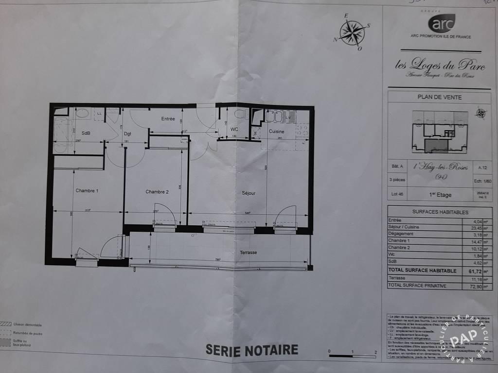 Vente Appartement L'haÿ-Les-Roses (94240) 61m² 399.000€