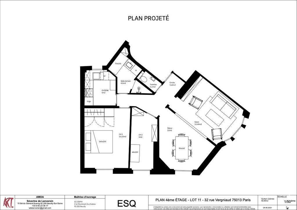 Immobilier Paris 13E (75013) 690.000€ 61m²