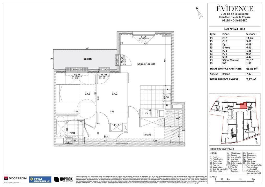 Vente Appartement Noisy-Le-Sec 63m² 450.000€